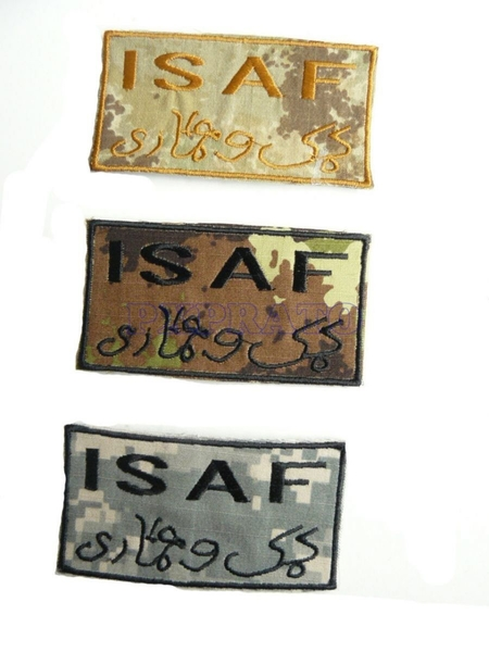 ISAF Patch Toppa Militare International Security Assistance Force Missione Di Supporto Al Governo Dell'Afghanistan 2001 Mimetica Vegetata Italiana con Velcro