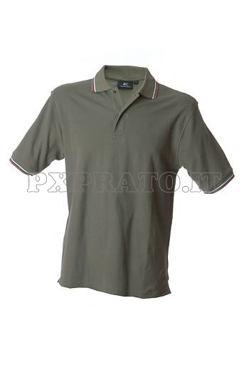Polo Uomo Verde Militare con Bordo Tricolore Manica Corta Cotone James Ross Collection
