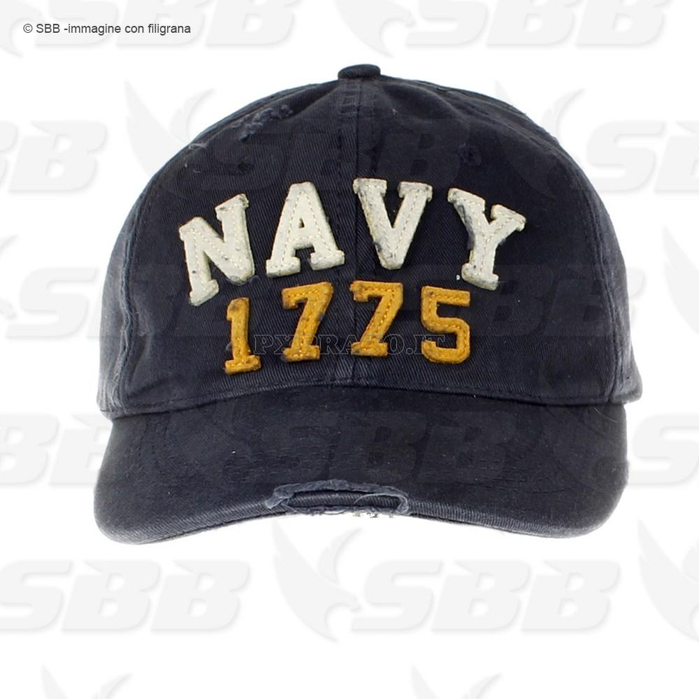 Berretto Cappello Militare Uomo Navy 1775 Americano USA Baseball Cap in  Cotone Stone Washed Blu con Visiera c5ad0430635d