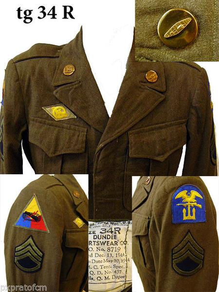 WWII Ike Jacket Armored - Army Amphibian Units tg 34 R