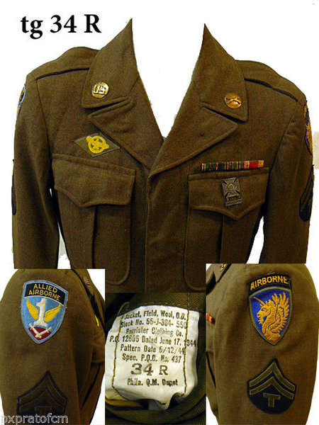 WWII Ike Jacket 13 A/B Division - 1 Allied Airborne tg 34 R