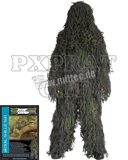 Ghillie Mimetica Sniper SoftAir Militare Jackal 3D Woodland Completo MIL-TEC